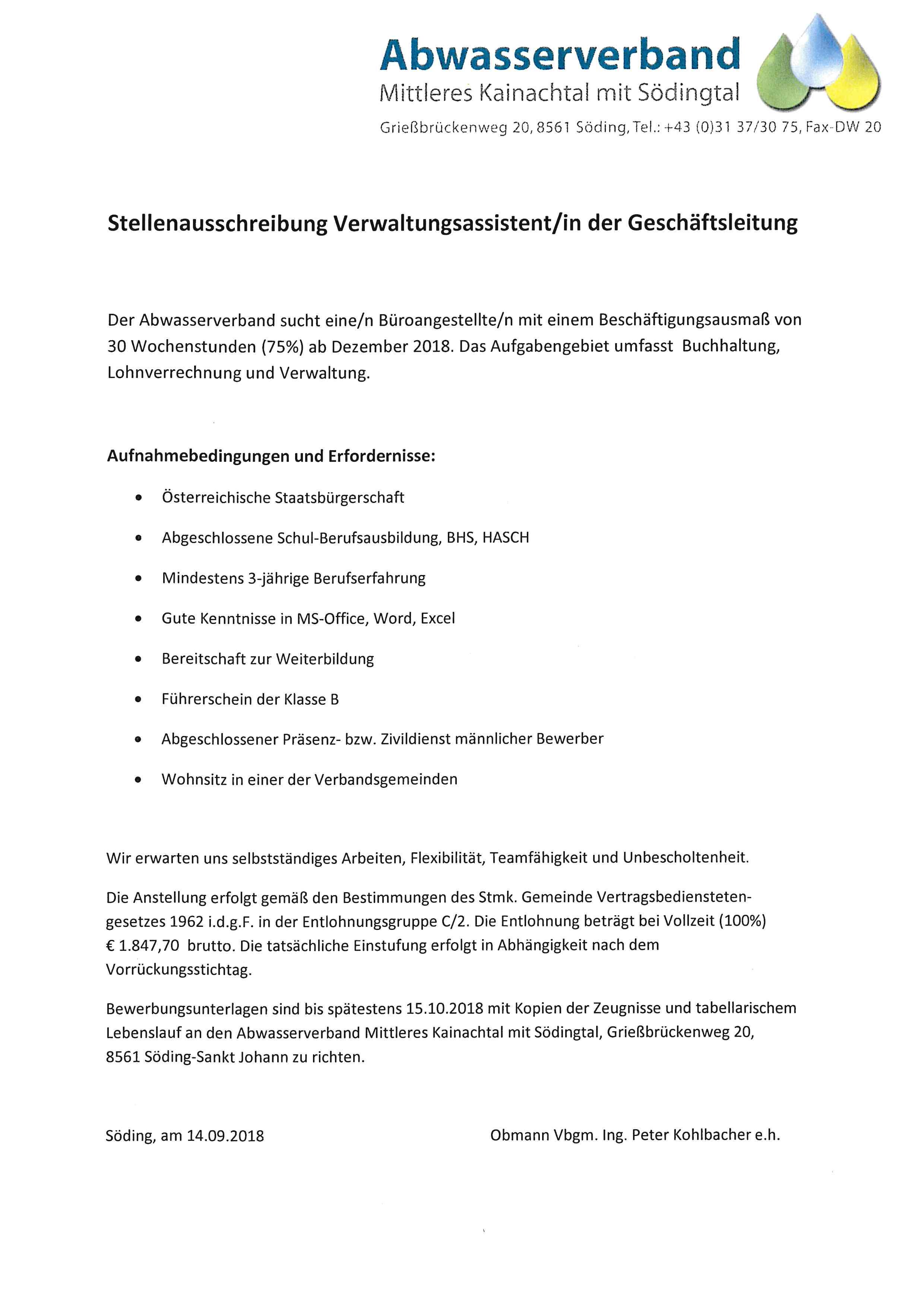 14 09 2018 Stellenausschreibung Abwasserverband Mittleres